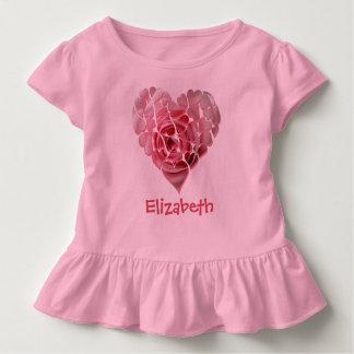 Corazón del personalizado del rosa color de rosa playera