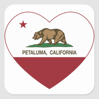corazón del petaluma de la bandera de California Calcomanias Cuadradas