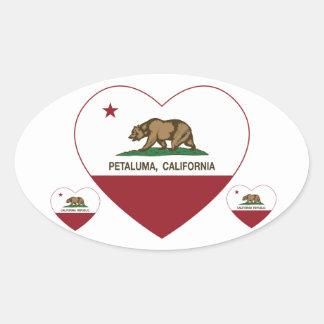 corazón del petaluma de la bandera de California Calcomanías De Ovales Personalizadas