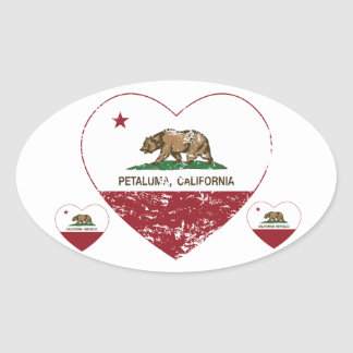 corazón del petaluma de la bandera de California Pegatina Oval