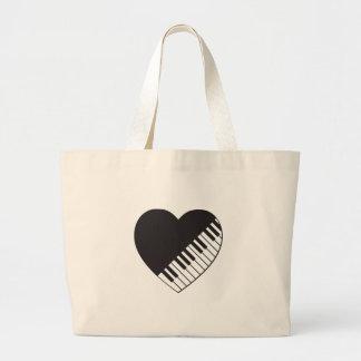 Corazón del piano bolsa tela grande