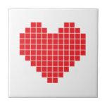 Corazón del pixel azulejos