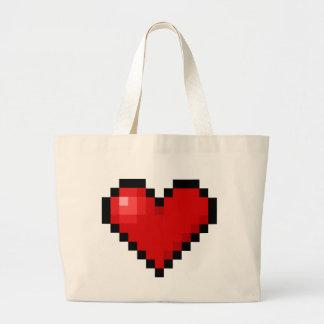 Corazón del pixel bolsa tela grande