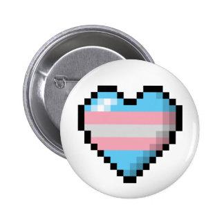 Corazón del pixel del transexual pin redondo 5 cm