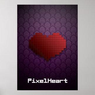 Corazón del pixel elegante posters
