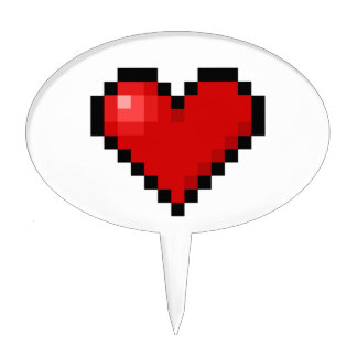 Corazón del pixel figuras para tartas