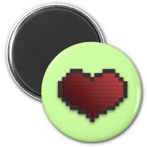 Corazón del pixel iman para frigorífico