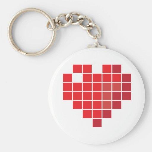 Corazón del pixel llaveros personalizados