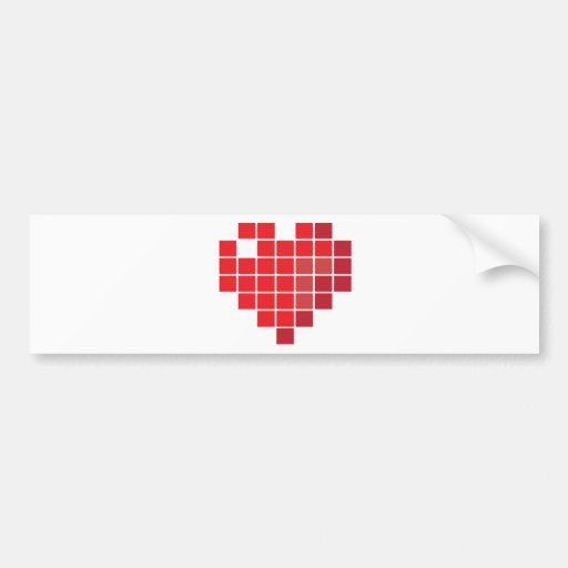 Corazón del pixel pegatina de parachoque
