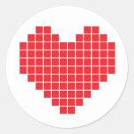 Corazón del pixel pegatina redonda