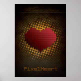 Corazón del pixel retro poster