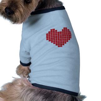 Corazón del pixel camiseta de perrito