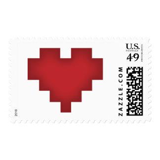 Corazón del pixel sellos postales