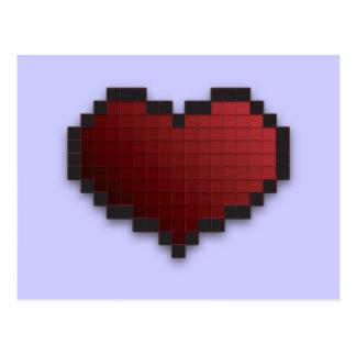 Corazón del pixel tarjeta postal