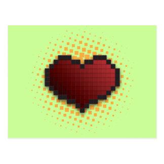 Corazón del pixel tarjetas postales