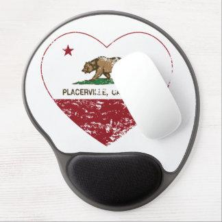 corazón del placerville de la bandera de Californi Alfombrillas De Ratón Con Gel