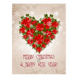 Corazón del Poinsettia y navidad rojos de los Tarjeta Postal