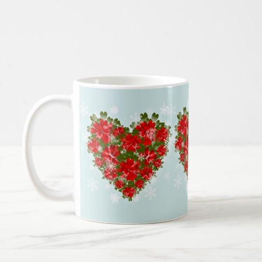 Corazón del Poinsettia y navidad rojos de los Taza De Café