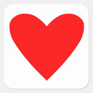 Corazón del póker pegatina cuadrada