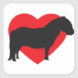 Corazón del potro de Shetland Pegatina Cuadrada