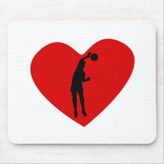 Corazón del punto del voleibol tapete de ratones