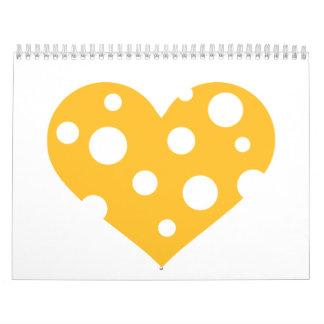 Corazón del queso calendarios