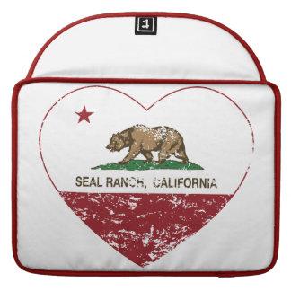 corazón del rancho del sello de la bandera de Cali Fundas Macbook Pro