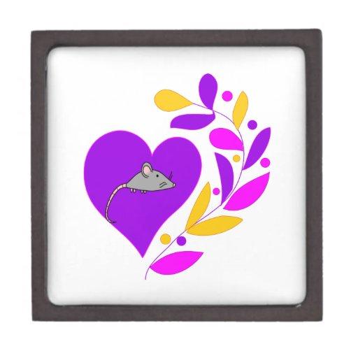Corazón del ratón cajas de joyas de calidad