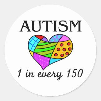 Corazón del remiendo del autismo pegatina redonda
