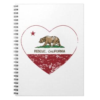corazón del rescate de la bandera de California ap Notebook