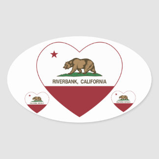 corazón del riverbank de la bandera de California Pegatina Ovalada