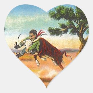 Corazón del rodeo de Wrangler del buey del vaquero Pegatina En Forma De Corazón