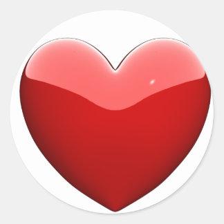 Corazón del rojo de Beautifil Etiquetas Redondas