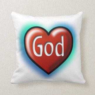 Corazón del rojo de dios cojines