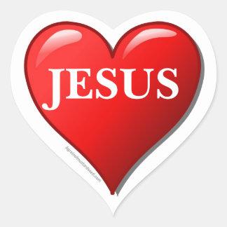Corazón del rojo de JESÚS Pegatina En Forma De Corazón