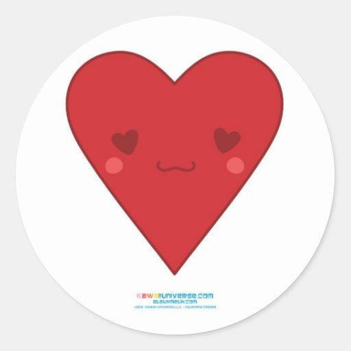 Corazón del rojo de Kawaii Pegatina Redonda