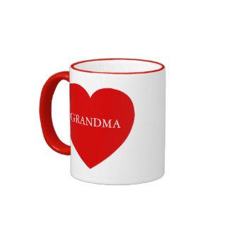 Corazón del rojo de la abuela taza de dos colores