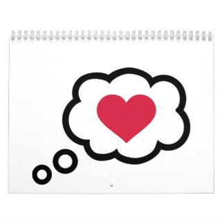 Corazón del rojo de la burbuja del discurso calendarios