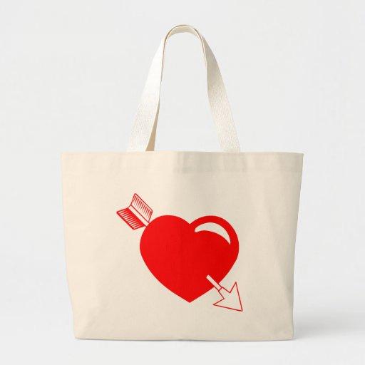 Corazón del rojo de la flecha del Cupid Bolsas