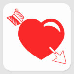 Corazón del rojo de la flecha del Cupid Pegatinas Cuadradases Personalizadas