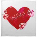 Corazón del rojo de la tarjeta del día de San Vale Servilletas