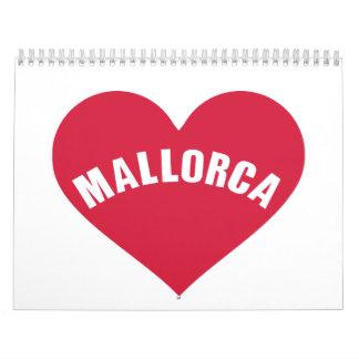Corazón del rojo de Mallorca Calendario De Pared
