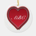 Corazón del rojo de Monogramed Ornaments Para Arbol De Navidad