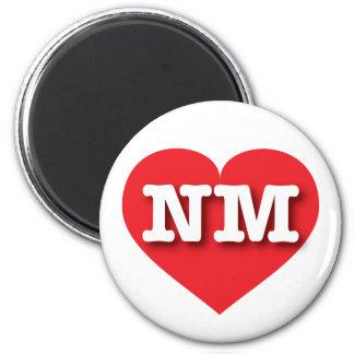 Corazón del rojo de New México nanómetro Imán Redondo 5 Cm