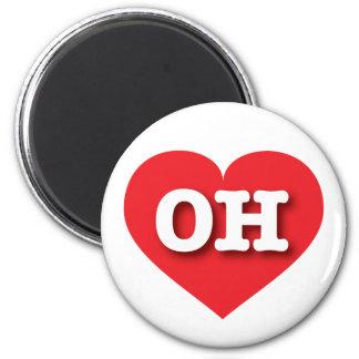 Corazón del rojo de Ohio OH Imán Redondo 5 Cm