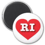 Corazón del rojo de Rhode Island RI Imán De Frigorifico