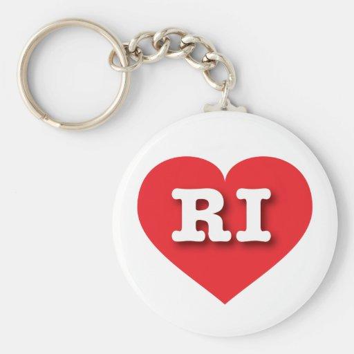 Corazón del rojo de Rhode Island RI Llavero Personalizado