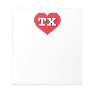 Corazón del rojo de Tejas TX Bloc De Notas