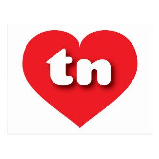 Corazón del rojo de Tennessee tn Postales