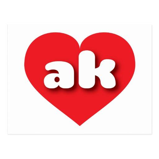 Corazón del rojo del ak de Alaska Tarjeta Postal